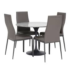 Nell Round Marble Dining Table, 4 Grey Chairs - Barker & Stonehouse