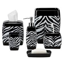 black and white zebra print bath accessories pink zebra print