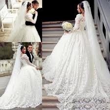 2017 ball gown lace wedding dress arabic style appliques off the