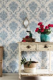 tapete fenja blau klassisches florales ornament mit