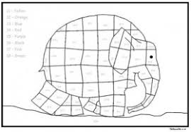 Elmer Elephant Additions Color By Number Coloring Page