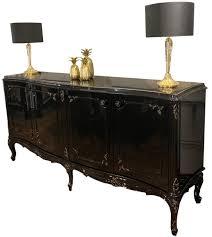 casa padrino luxus barock sideboard schwarz antik gold 226 x 57 x h 103 cm edler wohnzimmer schrank mit 4 türen und glasplatte hochwertige