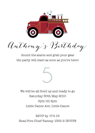 100 Fire Truck Birthday Party Invitations Kids Vintage Engine
