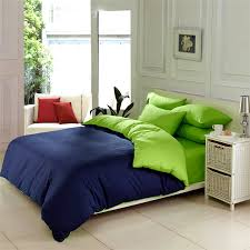 Popular Green Blue Bedding Set with 4 Piece Solid Green Cotton