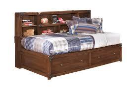 Twin Storage Bed with Bookcase Studio Headboard in Medium Brown