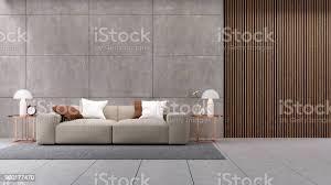 moderne luxus penthouse innenarchitektur wohnzimmer braunen sofa auf polierten betonwand 3drendering stockfoto und mehr bilder architektur