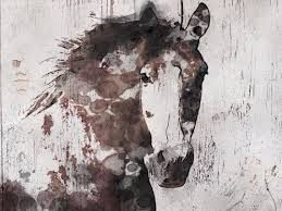 Large Brown Rustic Horse Canvas Art Print Up To Wall Decor By Irena Orlov