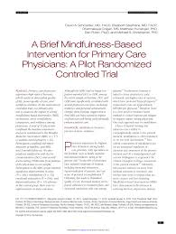PDF A Brief MindfulnessBased Intervention For Primary Care