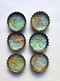 Bottle Cap Magnets Recycled Atlas Map