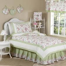 Elegant Rose Print Pink Green Floral Bedding for Girls 4pc Twin