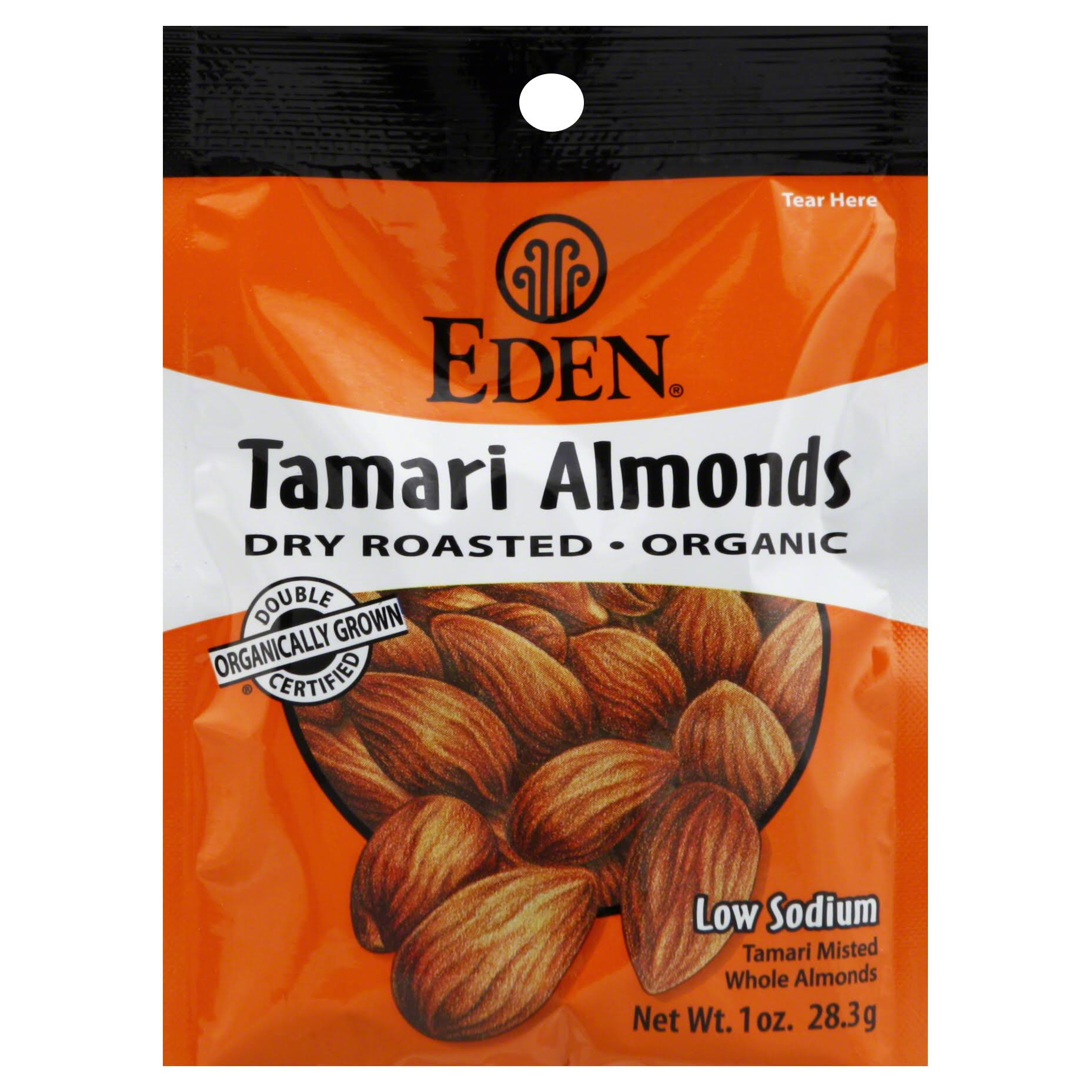 Eden Tamari Almonds - Dry Roasted, Organic, 1oz