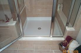 excellent glass block shower divider with white marble shower also