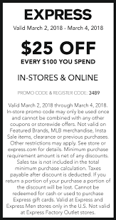 Express Coupons - $25 Off Every $100 At Express, Or Online ... Contuing Education Express Promo Code Nla Tenant Check Express Park Ladelphia Coupon Discount Light Bulbs Vacation Or Group Mens Coupons Coupon Codes Blog Happy 4th Of July Get 10 At Koffee Use How To Apply A Discount Access Your Order 15 Off Online Via Panda Codes Promo Code 50 Off 150 Jeans For Women And Men Cannada Review 20 Off 2019