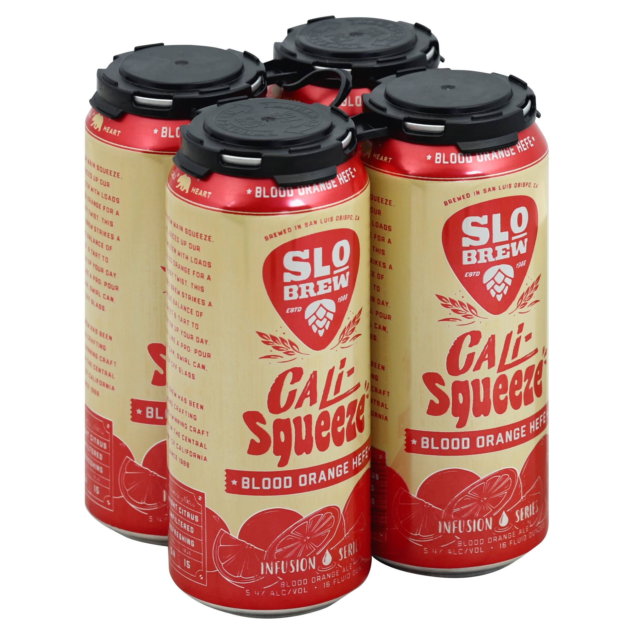 Slo Brew Beer, Cali-Squeeze, Blood Orange, HEFE - 4 - 16 fluid ounce cans