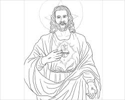 Sacred Heart Coloring Page Template Of Jesus