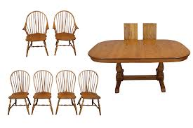 100 6 Oak Dining Table With Chairs Early American Style Athol Set Chairish