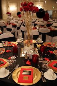 Wedding Decorations Gold And Red Indian Blog Toronto Invitations Tablescape With Rose Centerpieces Chiavari