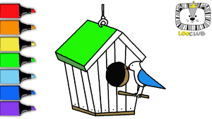 How To Draw Birdhouse Learning Coloring Pages For Kids LEOCLUB