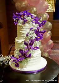 SPECIAL 25TH ANNIVERSARY CAKE SINGAPORE DEEP PURPLE IRIS 3 TIER CREAM RUSTIC WEDDING LAVENDER LILAC