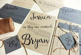 Blue Rustic Wedding Invitations Kraft Paper With Brown Twine Angled Script Modern Invitation Set Light Hydrangea Periwinkle