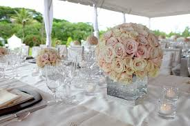 Wedding Reception Centerpiece Of Round Bouquet Cream Roses And Light Pink In A Modern Vase