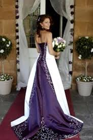 2017 white and purple embroidery cathedral train wedding dresses