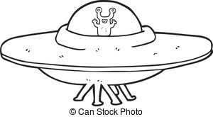 Freehand drawn black and white cartoon alien spaceship clip art