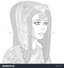Stock Vector Of Stylized Cartoon Ancient Egyptian Queen Cleopatra Nefertiti Isolated On White Background Freehand Sketch For Adult Anti Stress Coloring