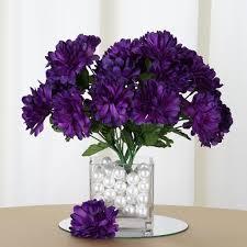 84 Artificial Silk Chrysanthemum Flower Bush Purple