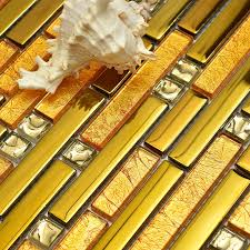luxus goldene farbe glas mixed goldene metall streifen mosaik für küche backsplash fliesen badezimmer dusche fliesen grenze flur fliesen
