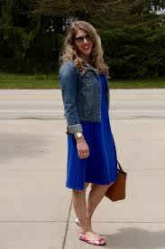 cobalt blue dress denim jacket floral flats i do declaire