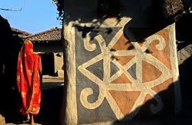 Tribal Wall Art At The Hilly Village Of Hazaribagh In Jharkhand India
