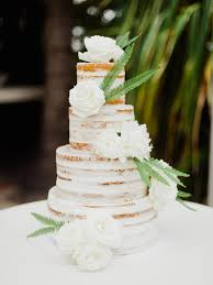 White Naked Cake Decorated With Roses And Ferns Wedding Cakes