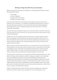 Manuscript Cover Letter Example