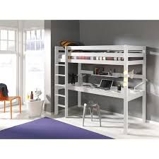 pino lit mezzanine 180cm grand bureau 90x200 cm blanc achat