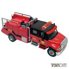 100 Black Fire Truck HO Scale International 7600 2Axle CrewCab Brush Red