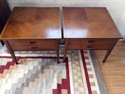 mid century modern end tables with drawer by american of