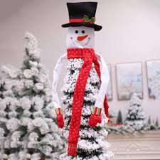Snowman Hat Christmas Tree Topper Decorations Xmas Ornament New Year Decoration 5 Style Santa Elf Foot Bow Sale