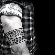 Polynesian Forearm Tribal Band Tattoo Designs For Men