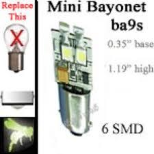 volt led bulbs 6 smd ba9s miniature single bayonet base