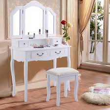 Shop Tri Folding Mirror White Wood Vanity Set Makeup Bathroom Table