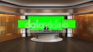 News 002 TV Studio Set Virtual Green Screen Background PSD