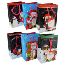 244624 Christmas House Small Santa Claus Gift Bags 3 Ct Packs