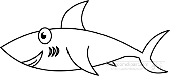 Animals Clipart shark black white outline Classroom Clipart