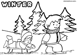 Kids Play With Sled Coloring