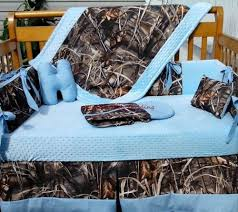 tree max 4 advantage camouflage and baby blue bumperless crib