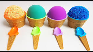 Learn Colors Kinetic Sand Mad Mattr Play Foam Ice Cream Cups Kinder Joy Surprise Toys Peppa Pig