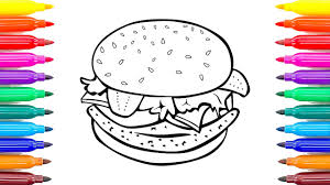 How To Draw Cheeseburger Coloring Book For Kids Learning Colors Children With Colored Markers