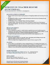 Elementary Teacher Resume Examples 2012elementary 2012 Substitute Sample Functional
