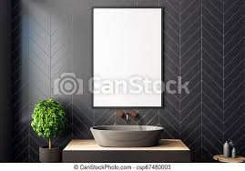 plakat badezimmer modern schwarz dekorativ badezimmer